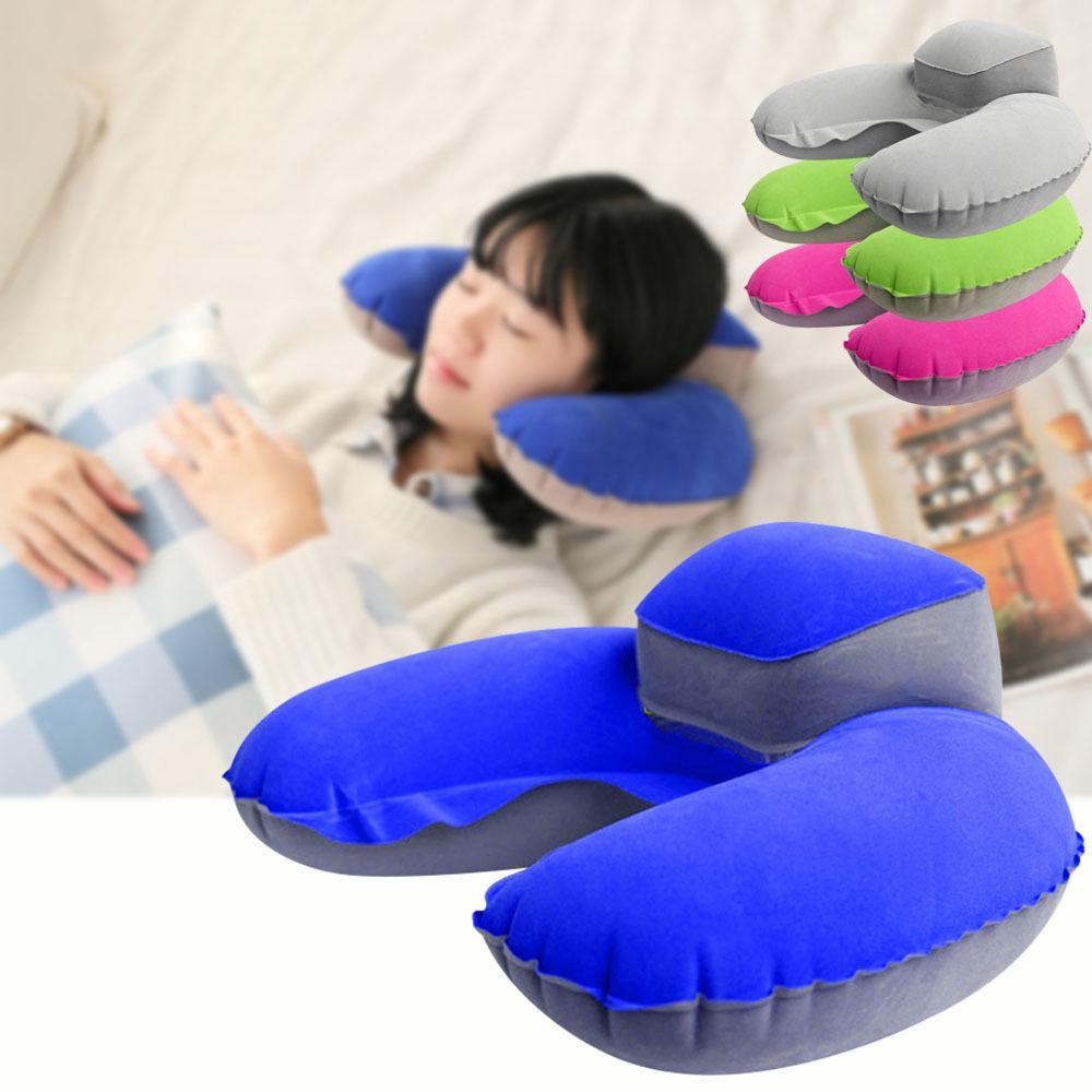 Надувная U-образная подушка для шеи воздушная подушка мягкий подголовник компактный самолет полет путешествия 4 цвета AAA198