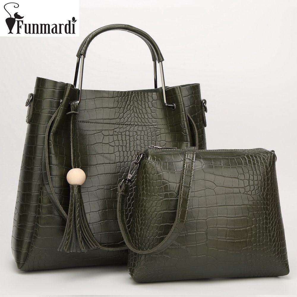 0f4d7ea30 FUNMARDI Vintage Alligator Composite Bags Luxury Trendy Leather Handbags  Star Style Totes Simple Design Shoulder Bags WLAM0006 Cheap Handbags Cheap  Purses ...