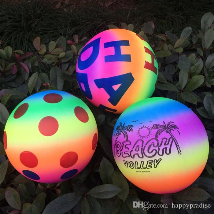 High Quality PVC 20CM Rainbow Inflatable Beach Ball Toy For Children Summer Pool Swimming Play Game Fun Party Ball Random
