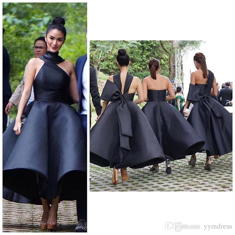 Cocktail Dresses Sexy Ball Gown Ruffles High Neck Sleeveless Big Bow 2019 Prom Evening Gowns Party Dress Tea Length Bridesmaid