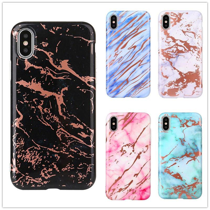 size 40 aa5f1 40d6e New Rose Gold Chrome Marble Case for iPhone X 6 6S 7 8 Plus Plated Back  Cover Soft TPU Phone Protective Shell