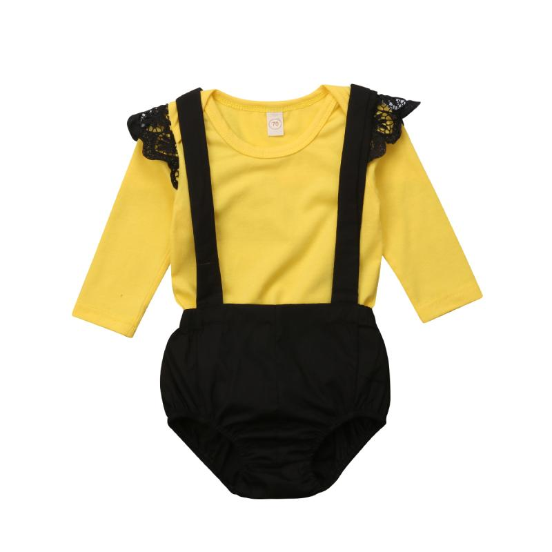 1a84032fe718 2019 2018 Newborn Baby Girl Clothes Fly Sleeve Yellow Romper + Overall Shorts  Outfits Autumn Spring Infant Baby Girls Clothes DNFS From Entent