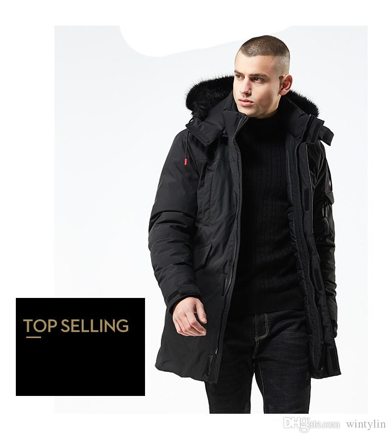 44a789089 2018 Mens Jackets Black Long Man Winter Jacket Men Thicken Warm Fur Hooded  And Coats Zipper Down Men Parkas High Quality 8827