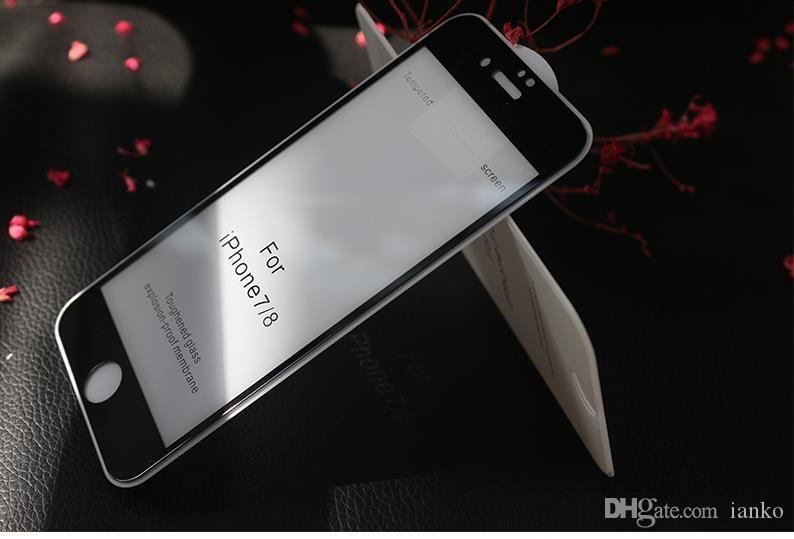 لاصقة حماية للشاشة من الزجاج المقسى لهاتف أيفون X-XR-XS ماكس 6.5 إنش للآيفون 8-7-6Plus Full Film 0.3 مم 2.5D 9H Anti-تتحطم