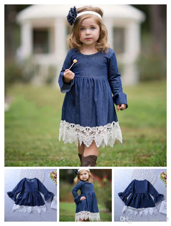 c890e25d740a5 Girls Princess Denim Dress Children Clothing Lace Dress Kids Long Sleeve  Party Dresses Baby Girl Kid Child Clothing 14197
