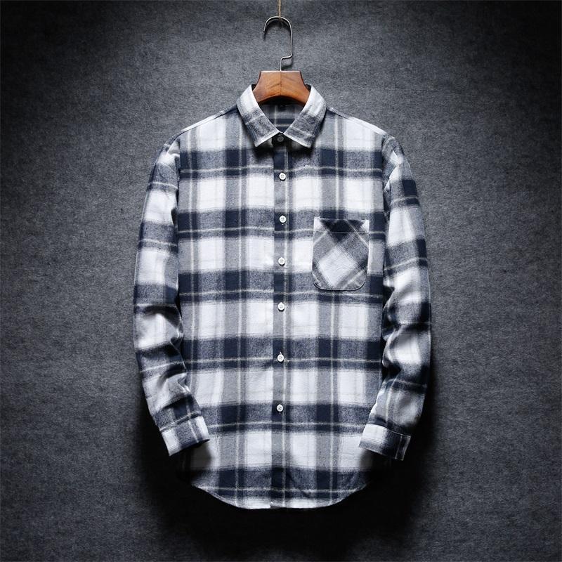 Compre Camisa A Cuadros De Los Hombres De La Venta Caliente Camisa De Moda  De Los Hombres De Manga Larga Camisas Grises Claras Azules Oscuras Cómodas  De La ... 42e51e3420de1