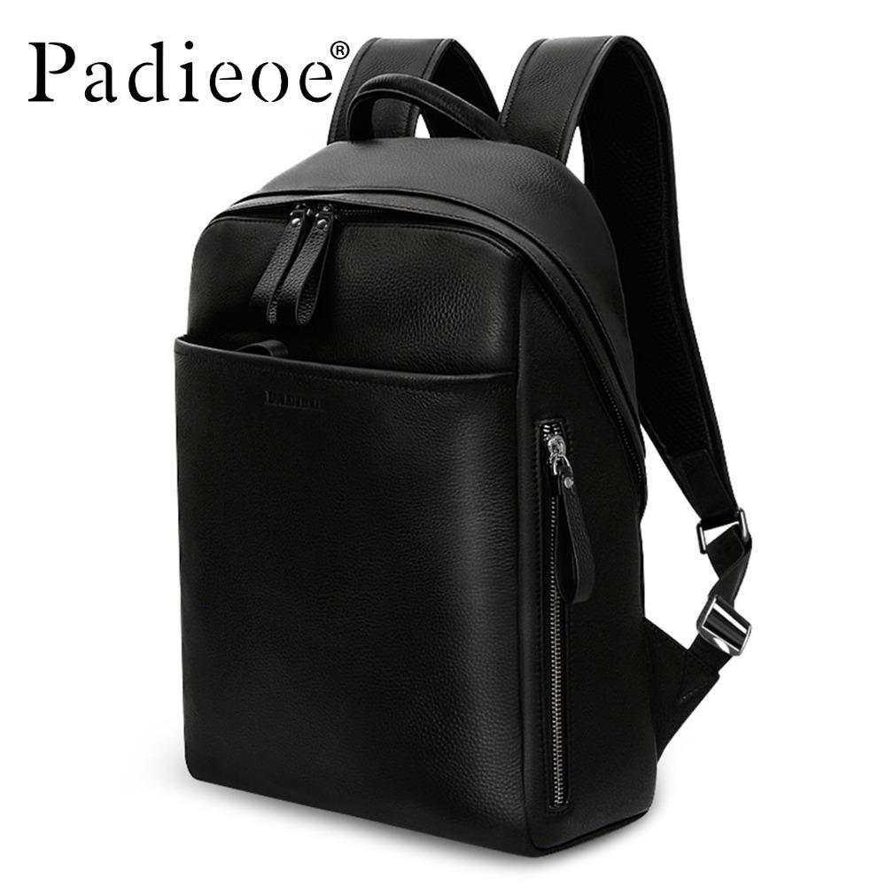 Wholesale Padieoe Genuine Leather Backpack For Man Real Cowhide Large Male  Bckpack Double Zipper Travel Rucksack Classic Unisex Black Bags Army  Backpack ... 9b6e8fade60fb