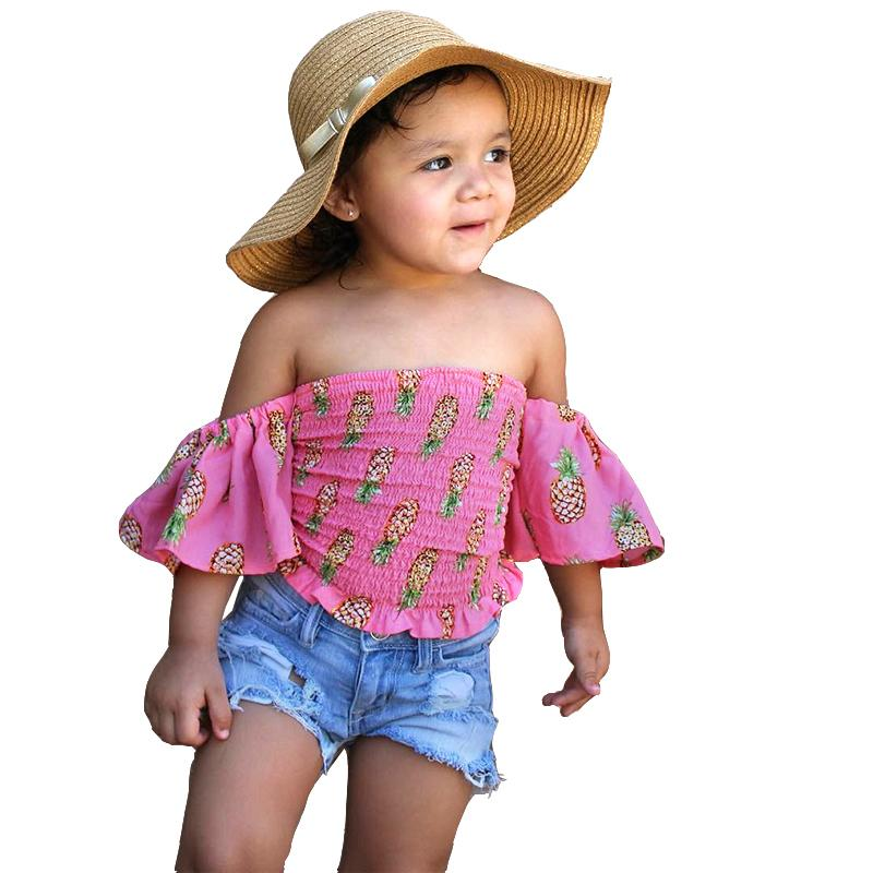 b5b1aa472a63 2019 Little Baby Toddler Girl Clothes Kid Set Short Shirt Jeans Suit ...