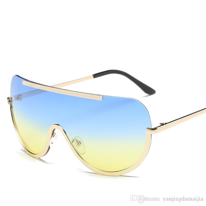 2018 New Sunglasses European And American Big Frame Glasses Siamese ...