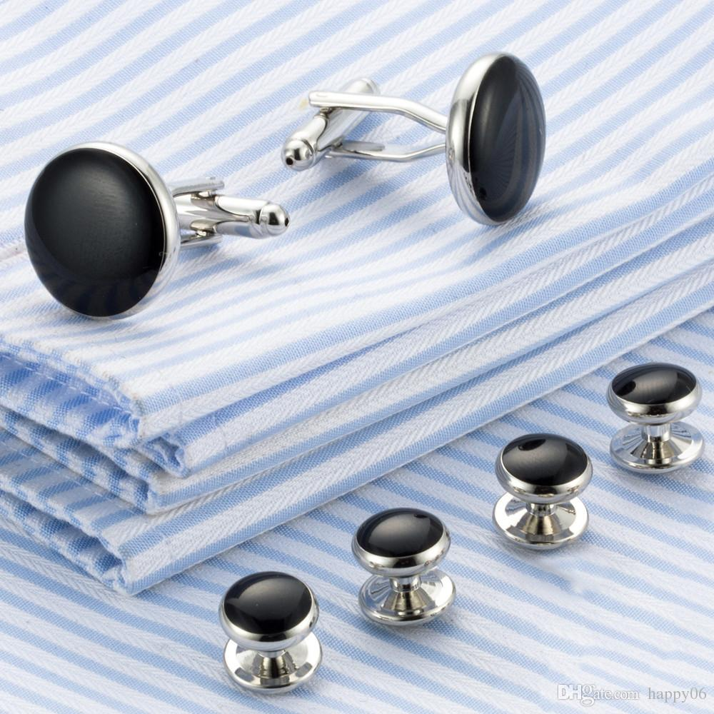 Fashion men cufflink and button set shirt accessory high Quality Metal Buttons Cufflinks and Studs Sets B
