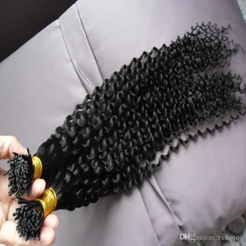 I Tip Fusion Hair Extensions #1 Jet black 100g/strands 2 bundles Kinky Curly Stick Indian Remy Human Hair Extension