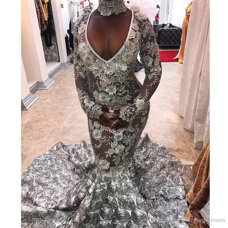 2018 실버 레이스 슬림 인어 이브닝 드레스 긴 소매 V 넥 맞춤형 예복 가운 정장 Vestidos De Soiree
