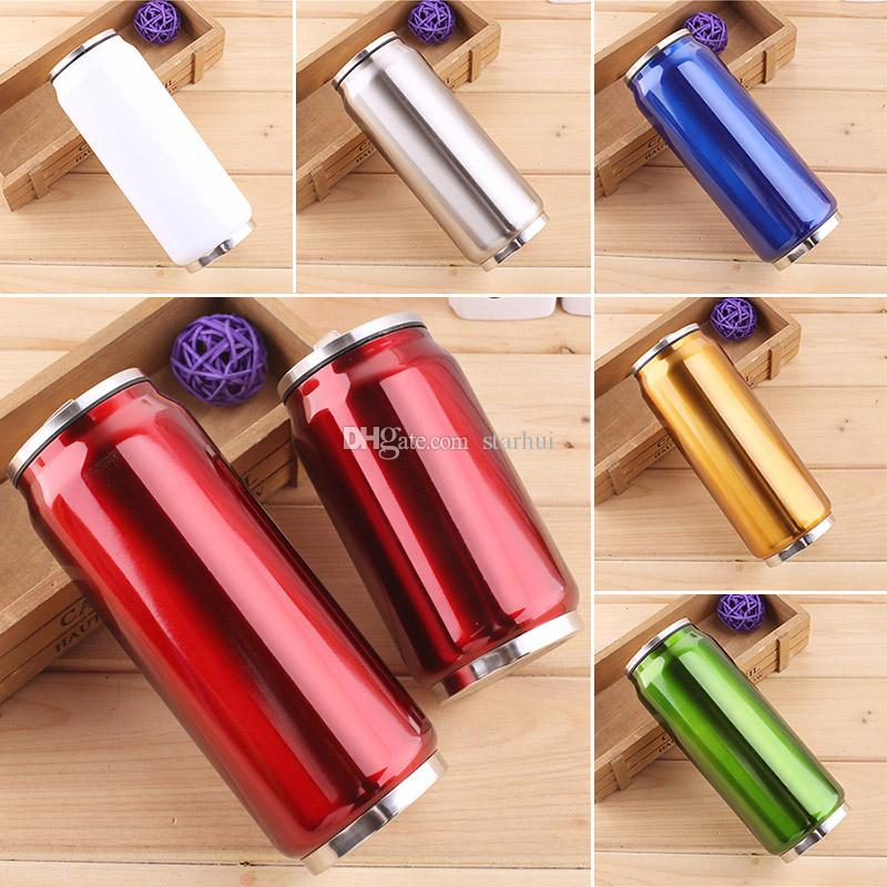 350ML 500ML Cola Can Bottle Water Cup Stainless Steel Outdoor Vacuum Insulated Mug Cup Sith Straw Lids WX9-488
