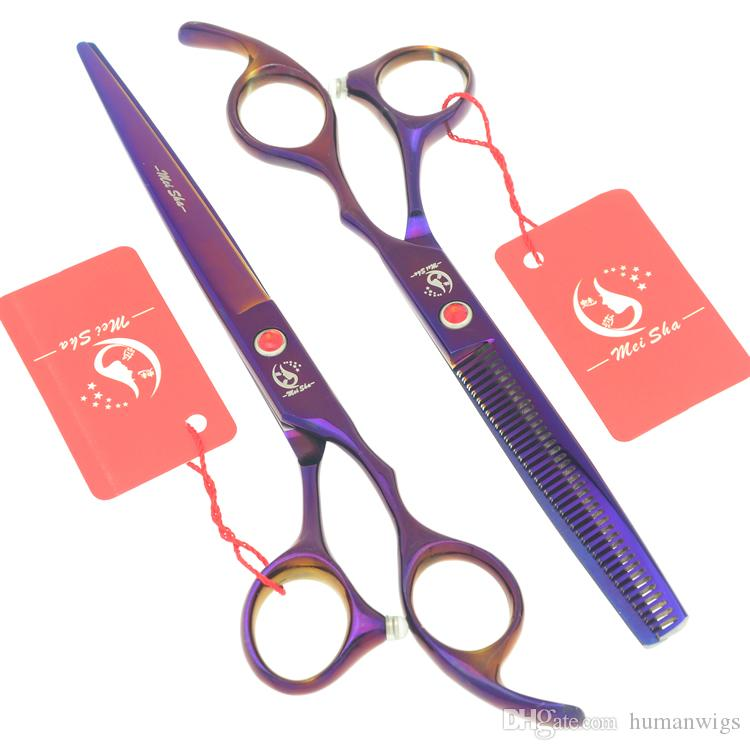 7.0Inch Meisha Purple Hair Scissors Hairdressing Cutting Shears Set Salon Cutting Tools Hair Thinning Tijeras Sharp Edge Hair Razors HA0370