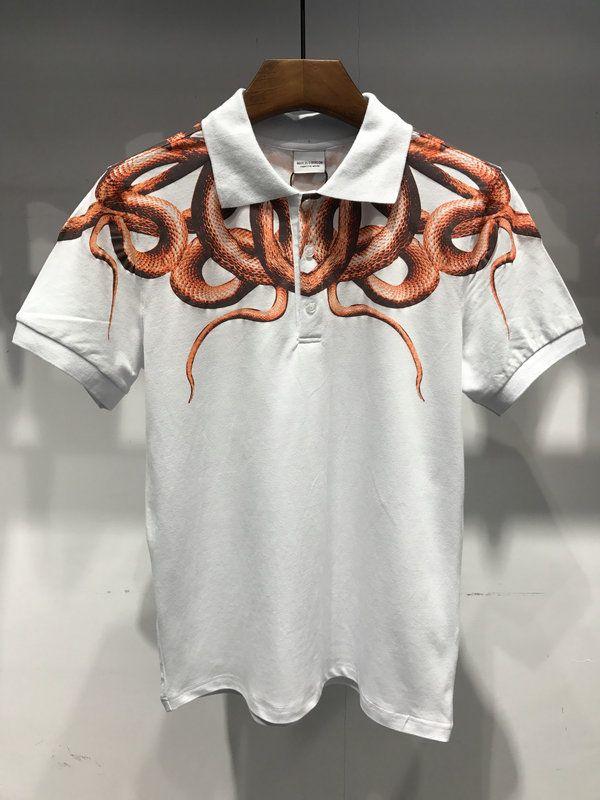 MARCELO BURLON snake printed 2018 Cotton Polo Shirts Men shirt Feather wings Top Quality Marcelo Burlon Polo Shirts Men