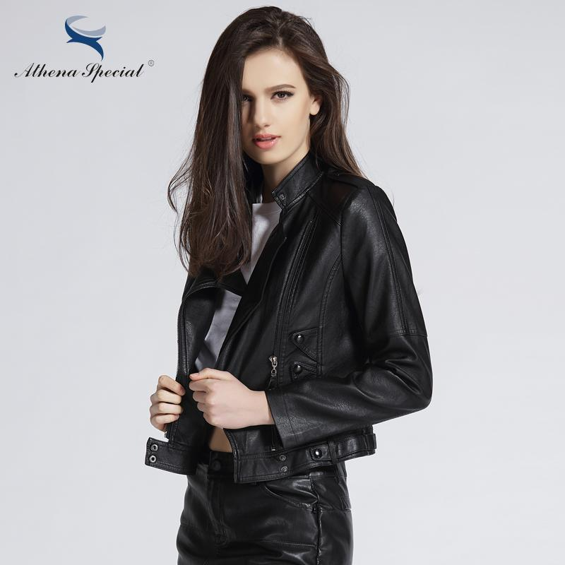 35152c88c8124 2019 Athena Special 2017 New Fashion Leather Jacket Women Motorcycle PU  Leather Outwear Street Style Faux Jackets Plus Size From Maoyili