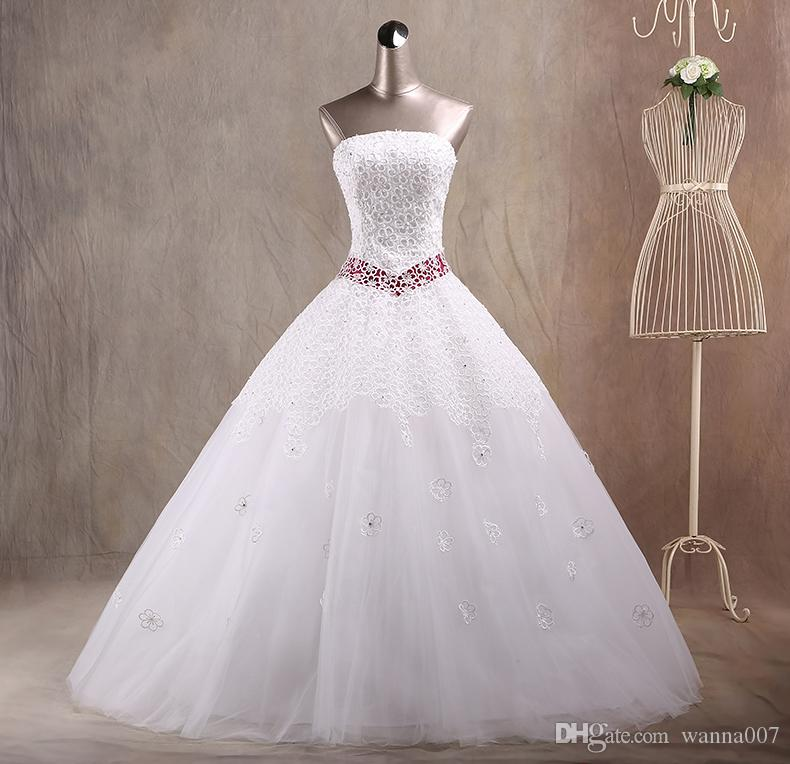Real Photos Ball Gown Floor Length Strapless In Stock Wedding ...