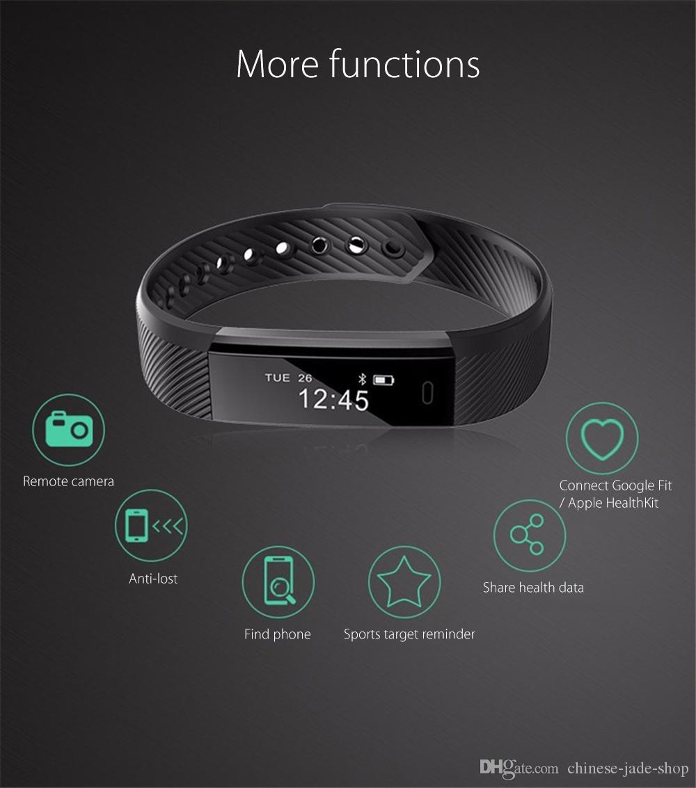 ID115 Smart Браслет Спорт Браслет Фитнес Tracker Часы Будильник Счетчик Стрим Смарт Wristband Band Спорт Smartband /