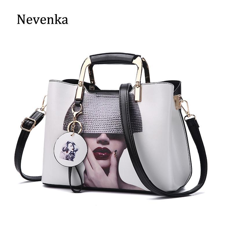 aba1ded7c3d4 Nevenka Women Handbag Fashion Style Female Painted Shoulder Bags Flower  Pattern Messenger Bags Leather Casual Tote Evening Bag Designer Purses  Satchel Bags ...