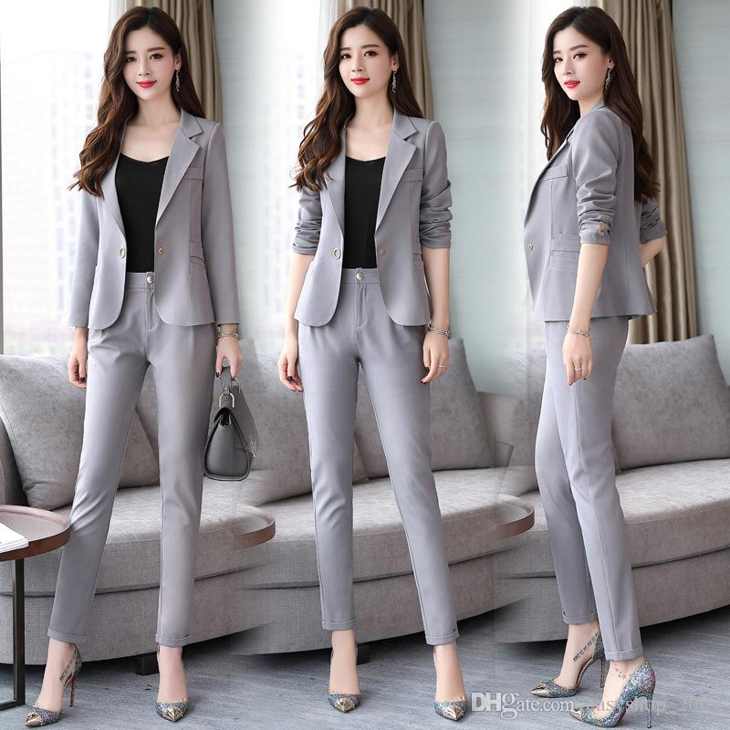 154116f6f434 2019 Autumn New Long Sleeved Solid Color One Button Small Suit Fashion  Casual Two Piece Suit Coat + Pants Women S Business Office Suit From  Easyshop 2009