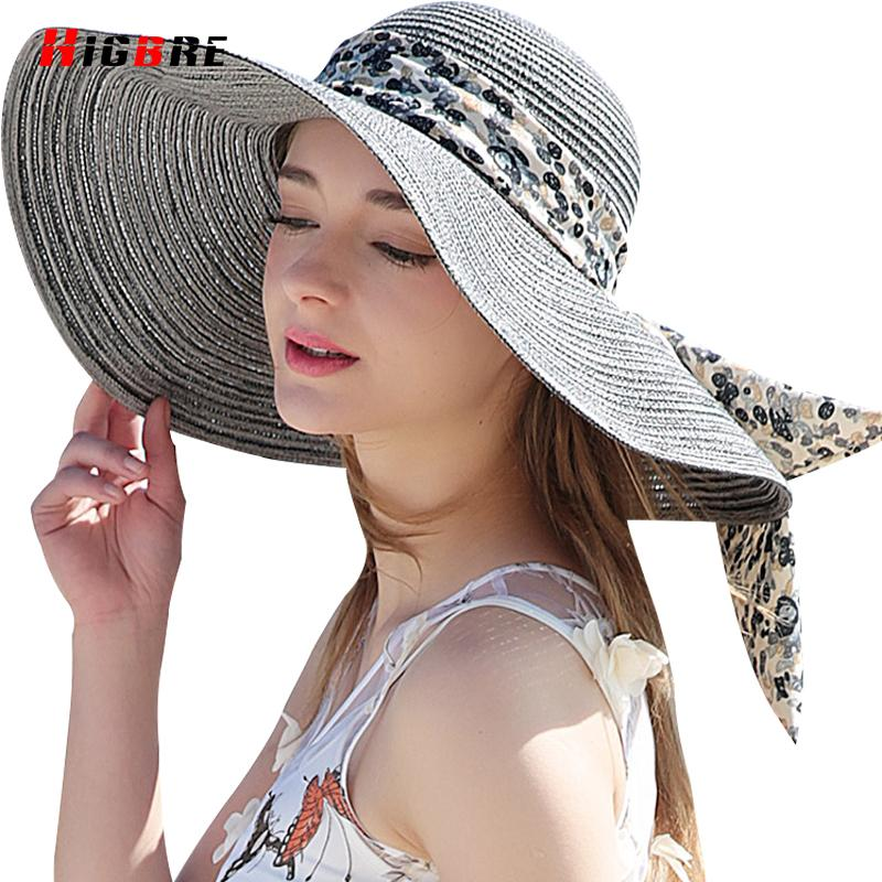 3ee0de10 New Casual Fold Ladies Sun Hats UV Protection Straw Cap Sun Hat For Women  Summer Beach With Big Heads Chapeu Feminino De Praia Baby Hats Bucket Hats  For Men ...
