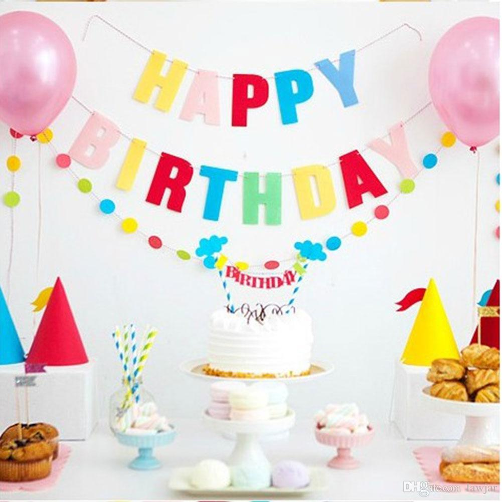 2019 Wholesale Happy Birthday Cake Bunting Banner Kit Flag Decor Decoration Party Favour Cute From Lawjar 3141