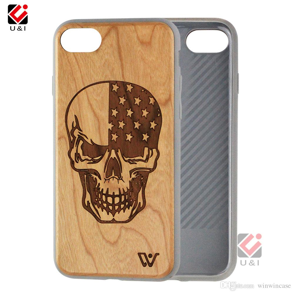 Series skull design wood phone case for iPhone 6 6s 7 8 6plus 7plus 8plus s plus, multi layer case for i Phone