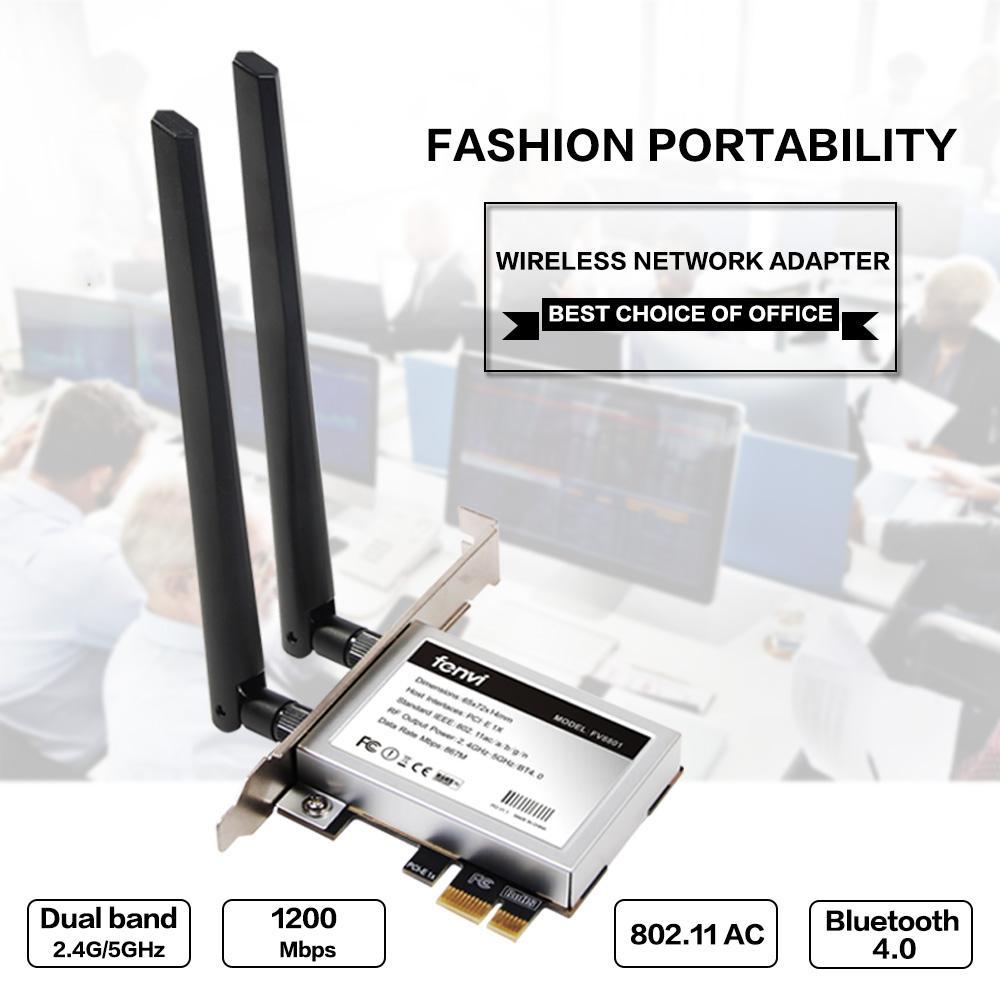 Fenvi Desktop PC Banda Dupla Sem Fio ABGN PCI Express PCI-E Adaptador de Cartão Wi-Fi Wifi 2.4G / 5 Ghz Rede Wlan Para Windows 7/8/8,1 / 10