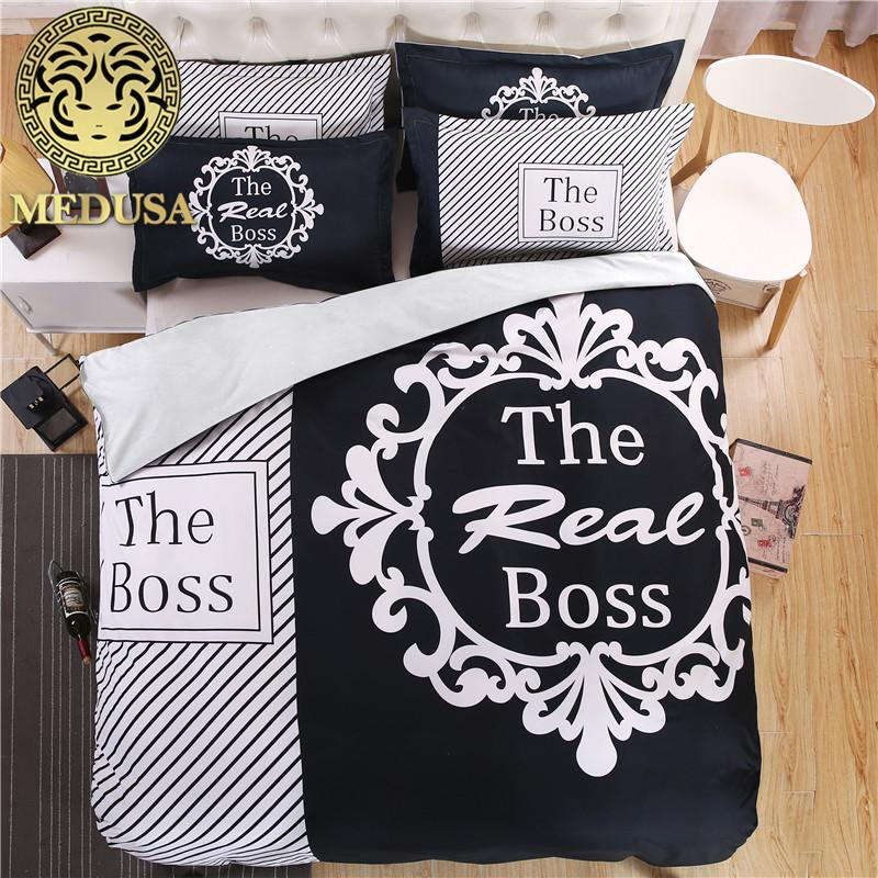 The Boss Black And White Hisher Side Bedding Set Duvet Cover Bed