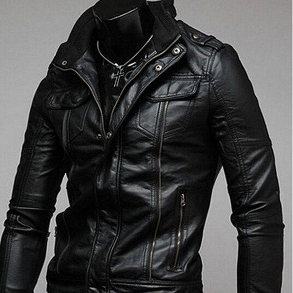 Men Fashion Cool Akio Motorcycle Leather Pocket Jacket Coat Mens