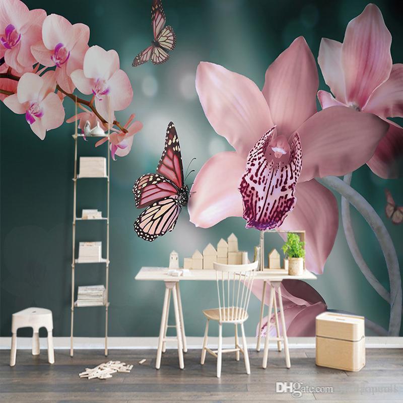 Gewohnheit irgendeine Größen-Tapete wärmen Sie frisches modernes 3D rosa  Schmetterlings-Orchideen-großes Schlafzimmer ...