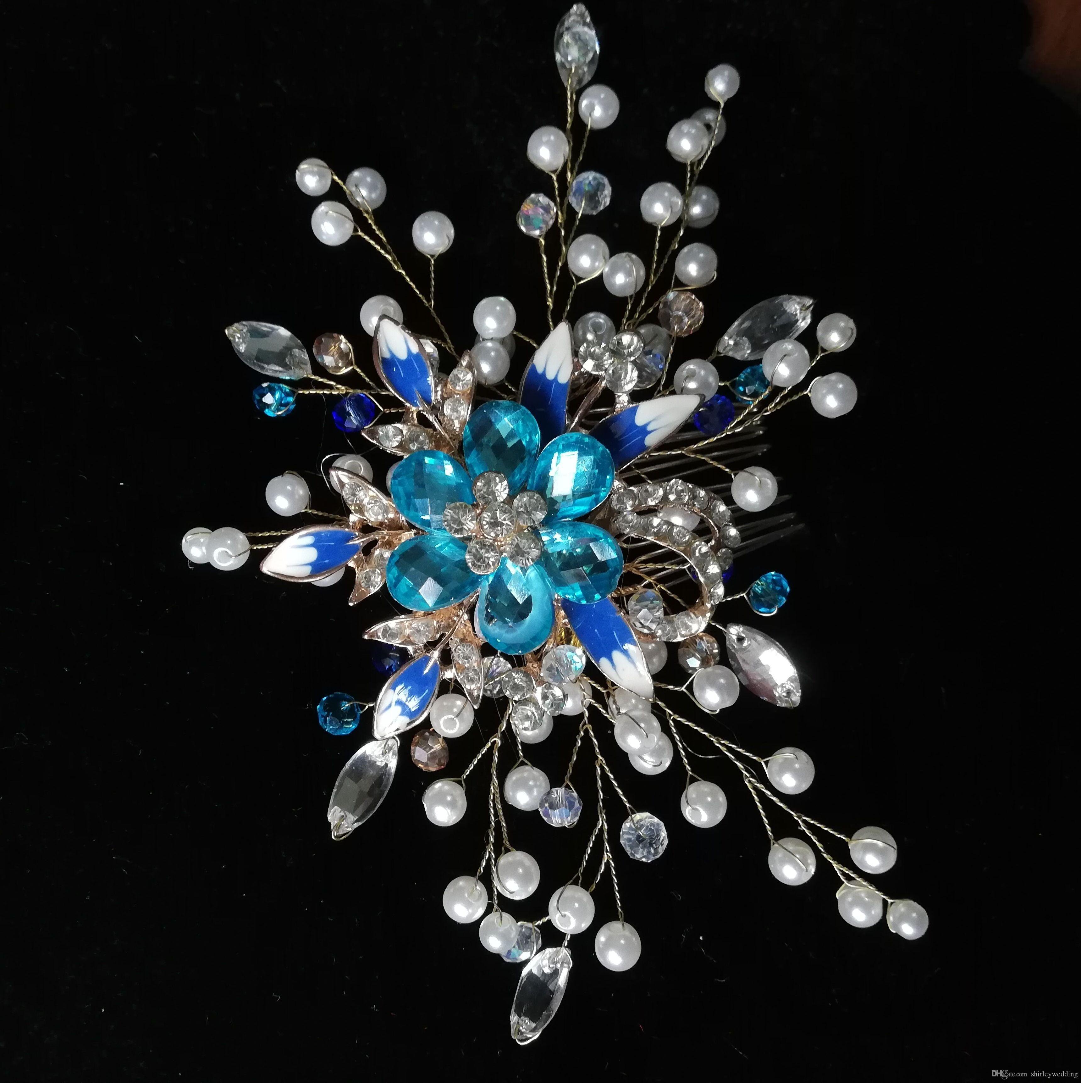 92fbb4270 Bridal Hair Comb Blue Crystal Rhinestone Flower Princess Wedding Bride Hair  Clip Barrettes Pins Silver Color For Women Canada 2019 From Shirleywedding,  ...