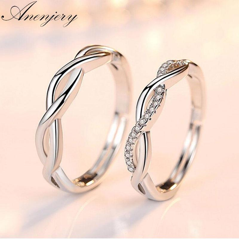 a39e1f0ac6 2019 Whole SaleAnenjery 925 Sterling Silver Couple Wedding Rings Wave  Zircon Love Opening Rings For Men Women Anillos Bague Gift S R164 From  Haydene, ...