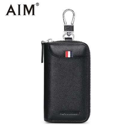 ac4a06557 Compre AIM Cremallera Clave Bolsa De Cuero Genuino Del Coche Llavero  Organizador Llavero Moda Moda Ama De Llaves Titular Cajas Hombres Carteras  Q224 A ...