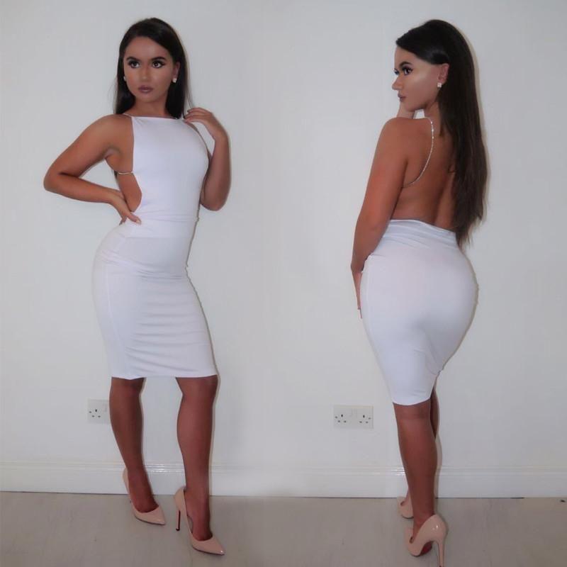Women Sexy Backless Dresses Black White Summer Dress Slash Neck