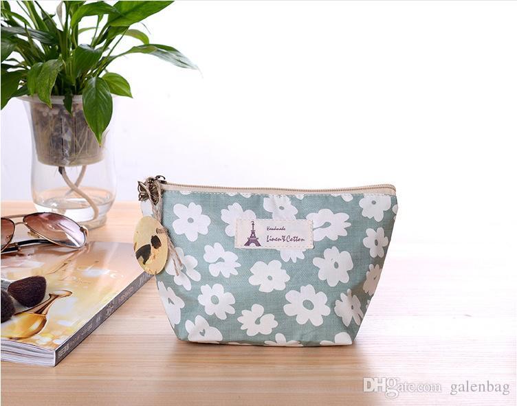 22 * 13 * 8 см 2018 цветочные хлопок холст косметические сумки изысканный, practicazipper макияж сумка клатч для девочек