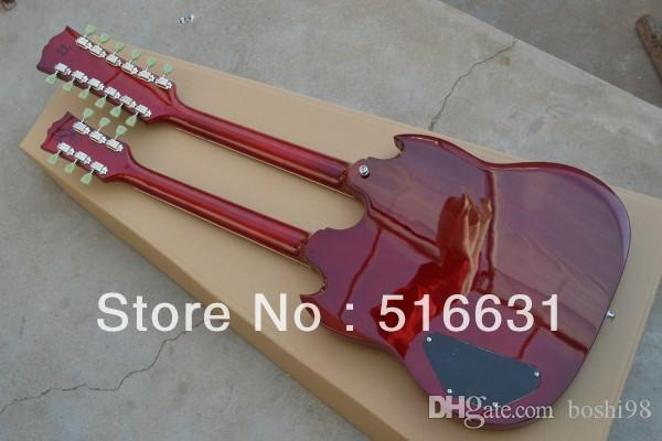 !SG 1275 Double Neck Electric Guitar double neck electric guitar in Wine red