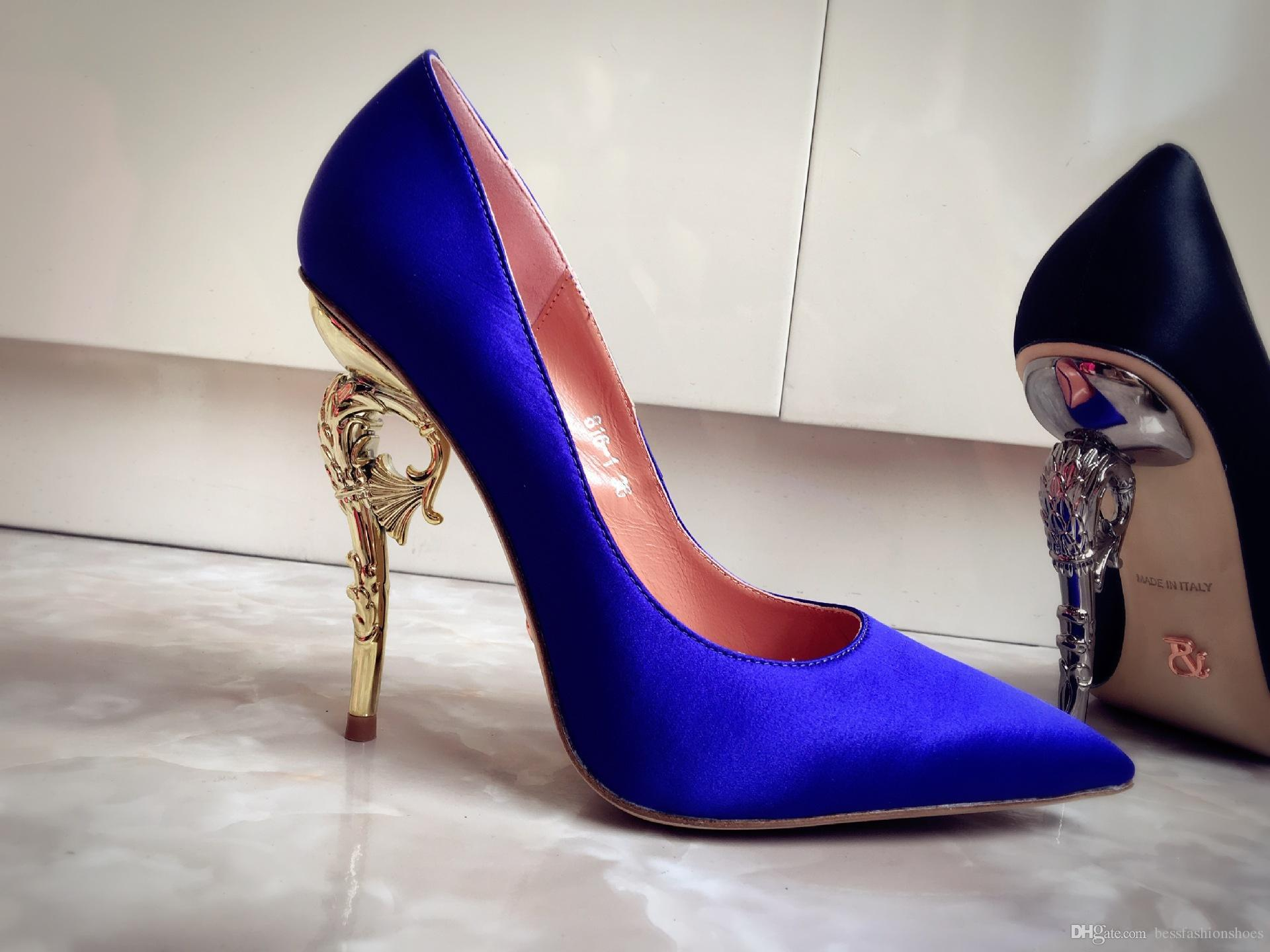 Ralph Russo Haute Couture Kollektion SCHUHE blue satin BAROCKEN PUMPEN SMARAGD SATIN MIT GELB GOLD HEEL Brautschuhe für moderne Bräute