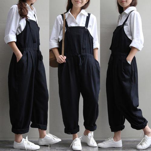 Street Style Women Loose Suspender Long Pants Slim Comfortable Jeans Overalls Harem Trousers High Quality Denim Jumpsuits Romper