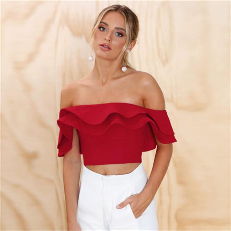 8b638adc41886 2019 Summer Sexy Ruffles Off Shoulder Falbala Shirt Women Crop Top Corset  Blouse Party Elegant Shirt Tops Women Clothes From Lixlon02