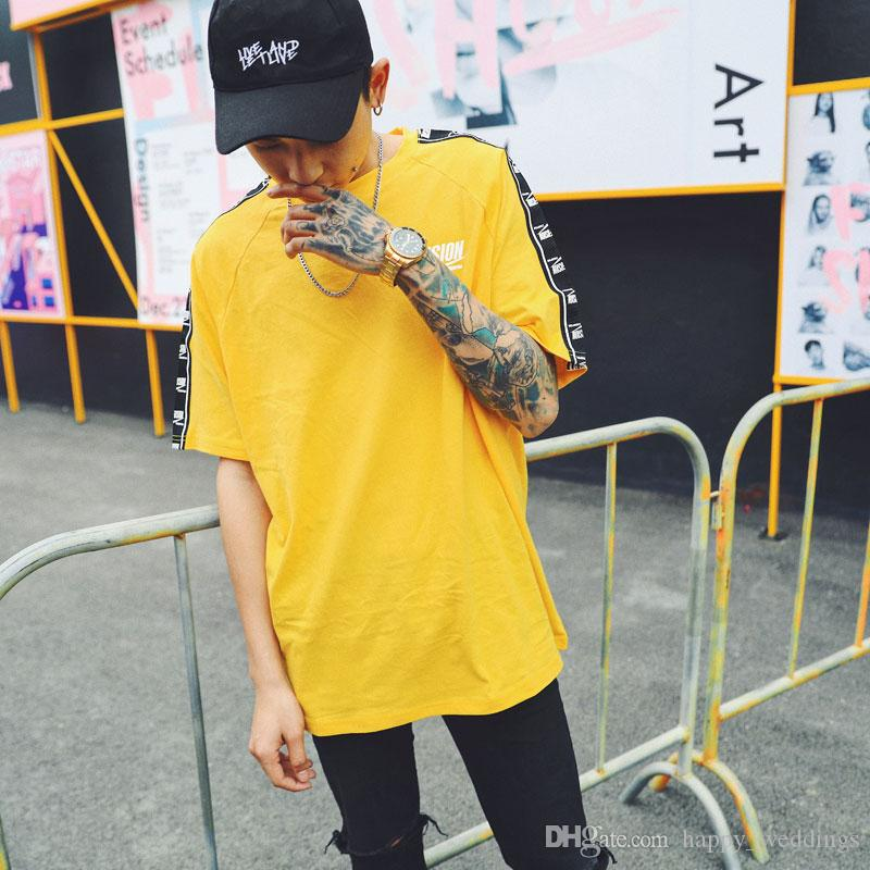Ribbon Sleeve Printed Short Sleeve T-Shirt Hip Hop Casual T Shirts 2018 Summer Fashion Cotton Tees Streetwear Tshirts