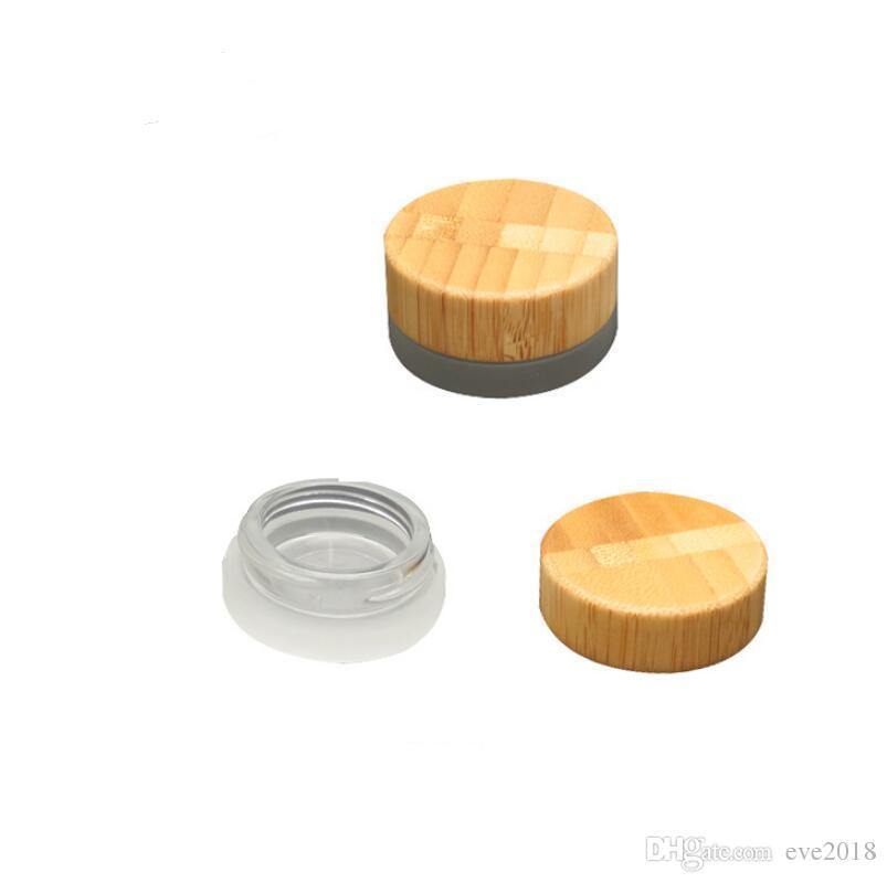 2018 frasco de vidrio esmerilado popular de 5 ml con contenedor de crema cosmético de cera de tapa de bambú 5g contenedor de almacenamiento LX2409