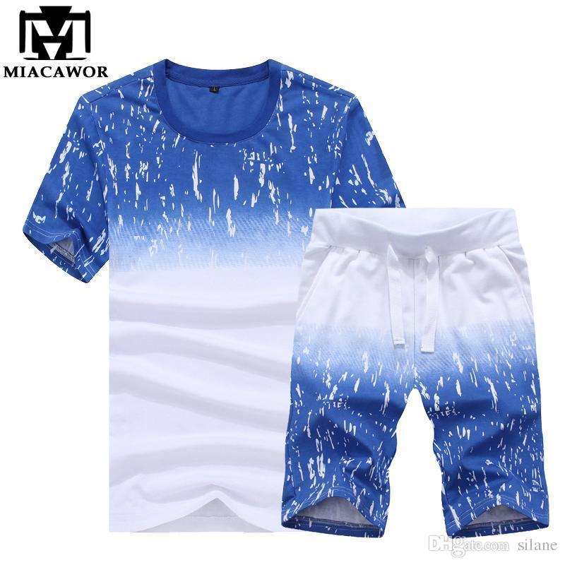 cheapest variety design exquisite style Wholesale- Plus Size 4XL T-shirts+Shorts Print Men's Summer Short-sleeve  T-shirt Suit Slim Fit Set MT526