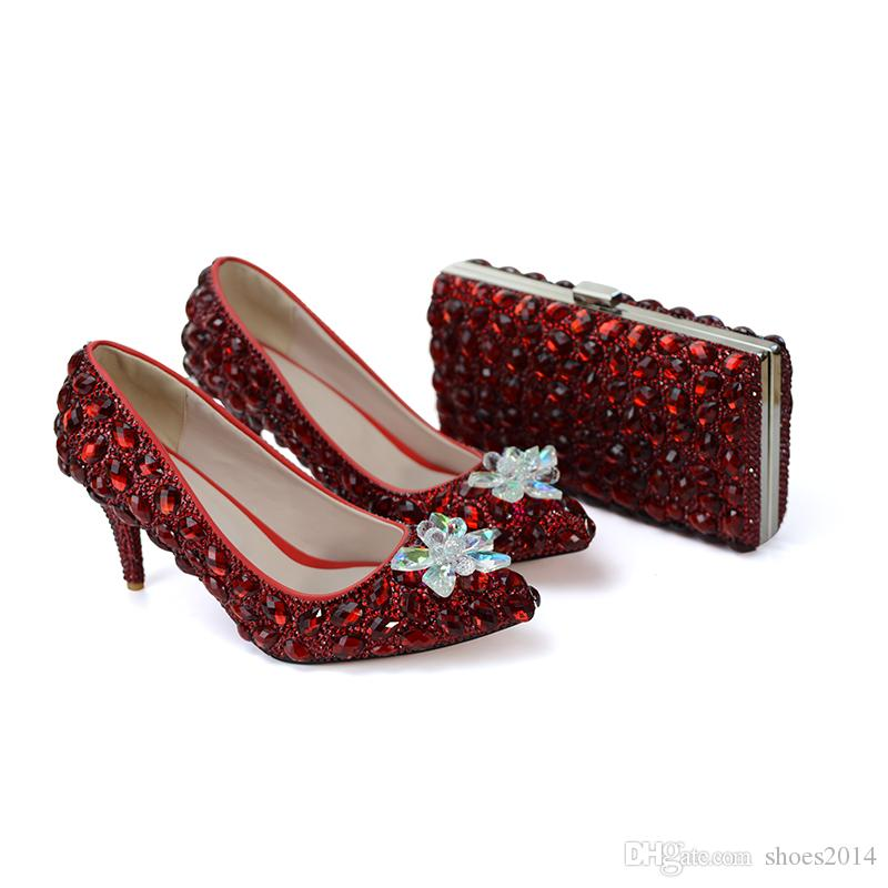 a29b7d7edfce Red Wine Color Wedding Party Shoes LUxurious Rhinestone Bridesmaid Shoes  With Matching Bag Pointed Toe Cinderella Prom Heels 8cm Canada 2019 From  Shoes2014