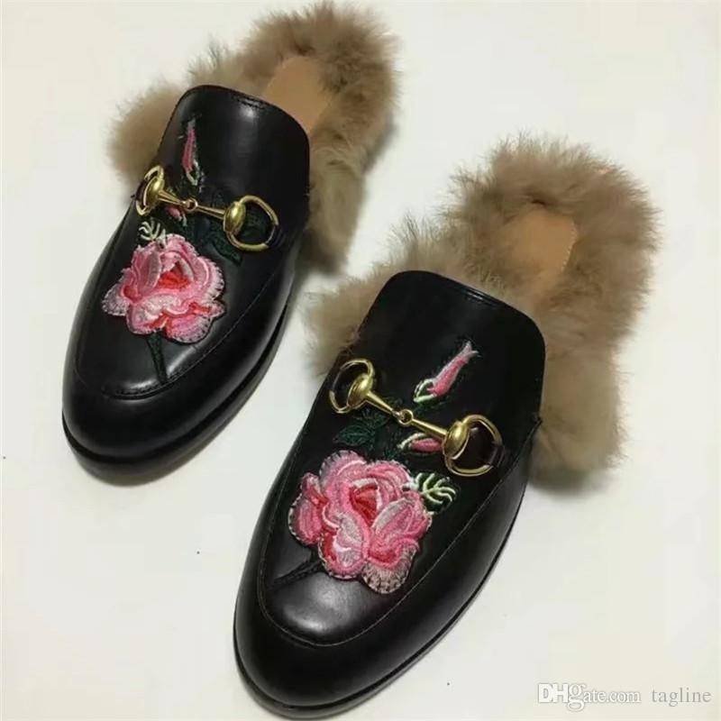 682a06ce7d54 2018 Genuine Leather Women Winter Rabbit Fur Slippers High Quality Luxury  Designer Scuffs Plus Size 35-42 Mules Shoes S893 Winter Fur Slippers  Genuine ...