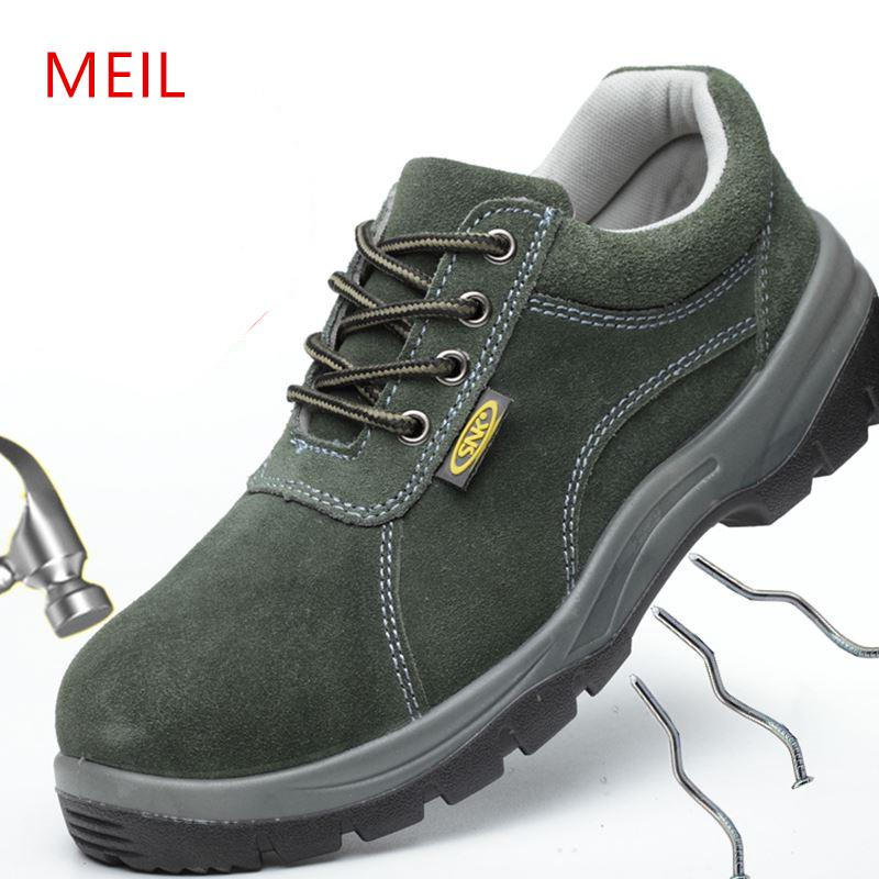 fa5ffef58e9 Mens Summer Work Shoes Safety Shoes Steel Toe Breathable Genuine Leather  for Men Casual Work Boots Protective Footwear