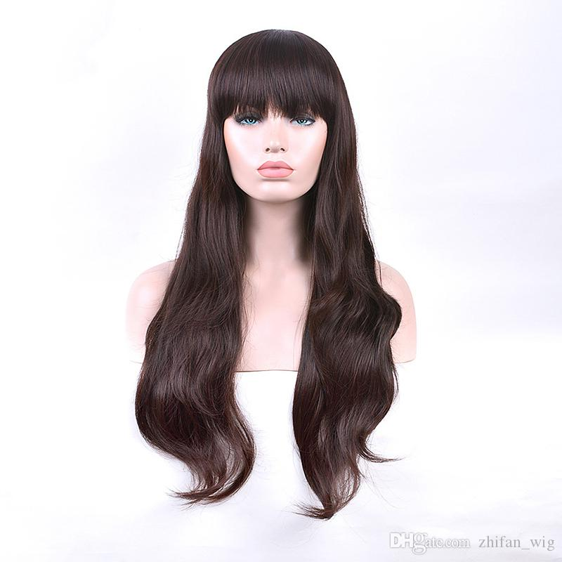 Z&F Loose Wave Wigs Bangs Look 70CM Long Light Brown Synthetic Wigs White Women Natural Wigs For Sale