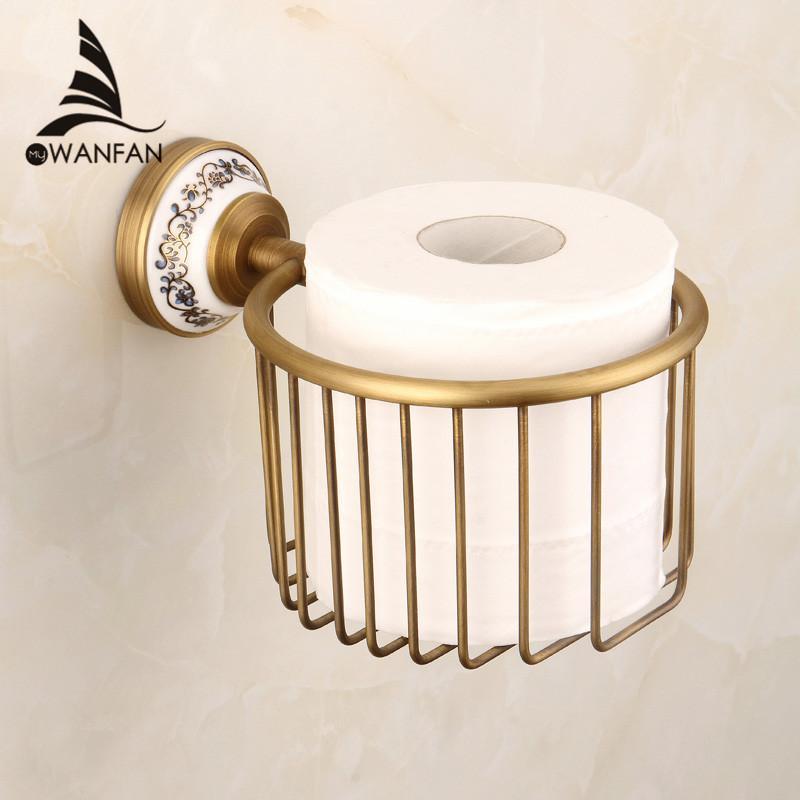 2019 Paper Holders Antique Bronze Bathroom Brass Toilet Paper Holder