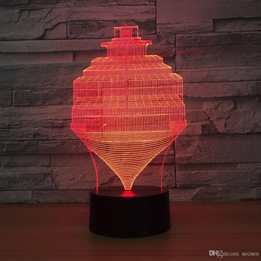 Cargo Boat 3D Optical Illusion Lamp Night Light DC 5V USB Powered 5th Battery Wholesale Dropshipping Free Shippin