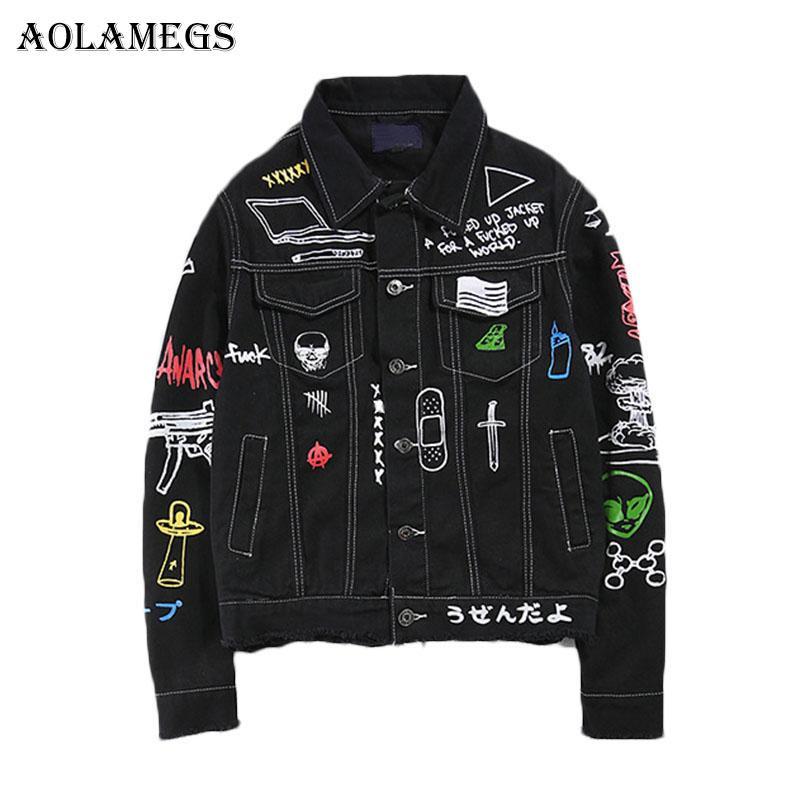 3db3b143ae Wholesale Men Denim Jacket Men s Graffiti Hip Hop Cowboy Jackets ...